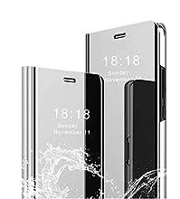 MLOTECH Coque pour Samsung A80,Flip Clear View Translucide Miroir Cover + Verre trempé Film Protecteur Standing 360°Housse étui Antichoc Smart Cover Bumper Argent