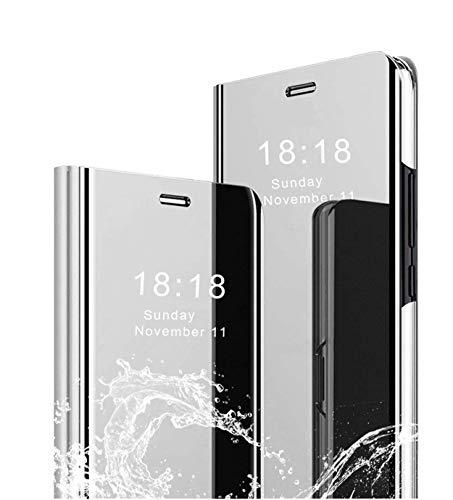 MLOTECH Funda Huawei P20 Pro,Funda Case + Cristal Templado Flip Clear View Translúcido Espejo Standing Cover Slim Fit Anti-Shock Anti-Rasguño Mirror 360°Protectora Cubierta Plata