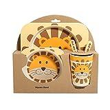 5pz/set fiocco piatto pappa in fibra di bambù forchette bambini stoviglie stoviglie Taglia libera Lion