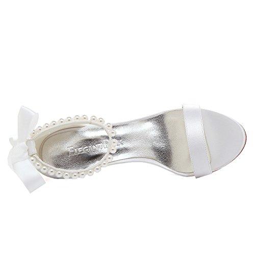 Elegantpark EP11053N Donna Cinturino Alla Caviglia Open Toe Tacchi Alti a Spillo Sandali Perla Nastro Satin Scarpe da Sposa Bianco