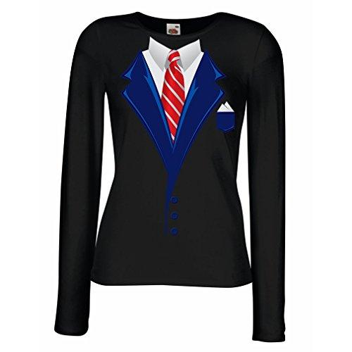 lepni.me Weibliche langen Ärmeln T-Shirt Look Like a Boss! (Medium Schwarz Mehrfarben) (Jubiläum Fitted T-shirt)