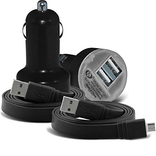 (Nero) Samsung Galaxy J2 Pro universale desine compatto 12v Quick Compatto Mini Bullet USB porta (Sintetico Cassa Del Cuoio)