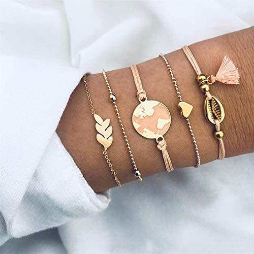 JOMSK Armband Set 5 stücke Karte verlässt Herz Shell quaste perlen Kette mehrschichtiges Armband Exquisite Frauen schmuck für Beach Party