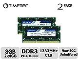 Timetec Hynix IC 8GB Kit (2x4GB) DDR3 1333MHz PC3-10600 Unbuffered Non-ECC 1.5V CL9 2Rx8 Dual Rank 204 Pin SODIMM Computer Portatile Memorie Module Upgrade (8GB Kit (2x4GB))