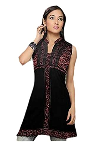 Black Color Collar Neck Embroidered Tunic Top shirt Blouse (xxl)