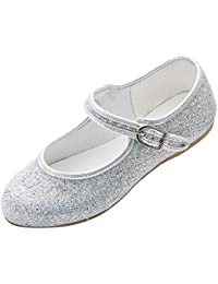 e963a85f99c3 Pure and Precious Girls Silver Glitter Bridesmaid Party Fancy Dress Ballerina  Flat Shoes Louise
