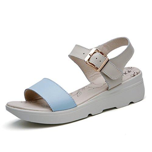 Moderne Sommer Damen Dicke Sohle Plateau Offene Zehen Riemenschnalle Weiche Sohle Gummi Anti Rutsch Strandschuhe Sandalen Blau