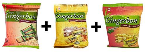 Agel Original Ingwerbonbons, mit Honig und Zitrone, mit Pfefferminzgeschmack, 3er Pack ( 3x125g) - Pfefferminz-honig