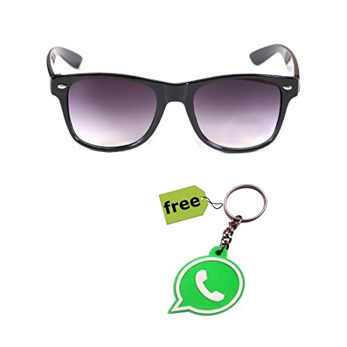 Elligator Trendy Black Wayfarer Sunglass With Stylish Whatsapp Key Chain Combo (Set Of 2)  available at amazon for Rs.179
