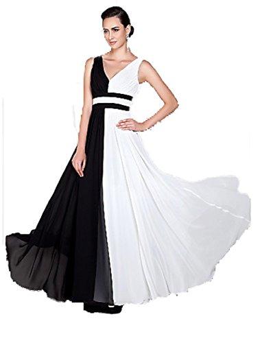 ROBLORA-Kleid-formale Abend-Cocktail Brautjungfer Brautkleid eine Schulter kurz light01 Ivoire-Noir