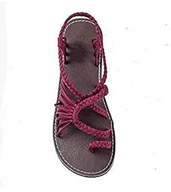 Strawberry-Sandals Fashion Gladiator Sandals Women Summer Shoes Female Flat Sandals Rome Style Cross Tied Sandals Shoes 35-43,Wine Red,40