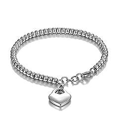 Idea Regalo - Keybella Bracciale Braccialetto per Donna Braccialetto perline in acciaio inox con pendente cuore,colore a scelta