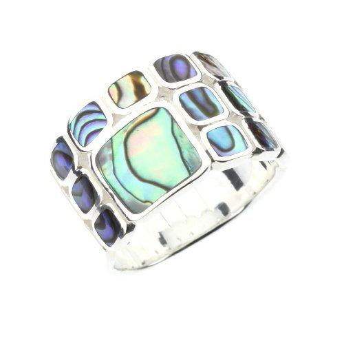 DTPsilver - Concha de Nácar Abulón paua - anillo en plata de ley 925, talla 17