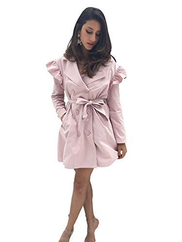 Simplee Apparel Damen Mäntel Elegant Casual Lang Double Breasted Trenchcoat Coat mit Gürtel Rosa (Jeans Double Breasted)