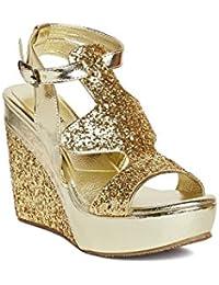 MarcLoire Women's Golden Western - Embellished Open Toe Buckle Sandals Wedge Heels