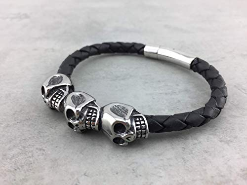 Armband Lederarmband schwarz black 6mm Rinderleder für Herren Männer Schmuck mit Totenkopf sehr cool Bikerschmuck Rockerschmuck LA14