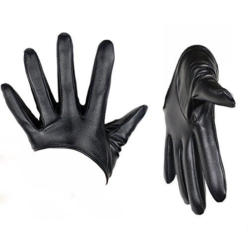 Zeafin Mädchen Damen Handschuhe Lederhandschuhe Warm Hälfte Palm PU Leder Schwarz
