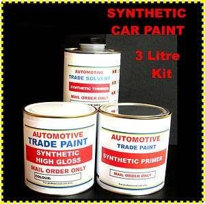 CAR PAINT Synthetic Pure White 3 Lt Kit (1 Lt Paint, 1 Lt Grey Oxide Primer Filler, 1 Lt Synthetic Thinners)