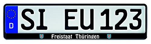 1-Paar-Kennzeichenhalter-schwarz-mit-Bundesland-Motiv-Wappen-bedruckt-Kennzeichenhalterung-Kennzeichenrahmen-Freistaat-Thringen