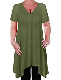 EyeCatch - Olivia Womens Casual V Neck Long Tunic Uneven Hem Plus Size Ladies Flared Top