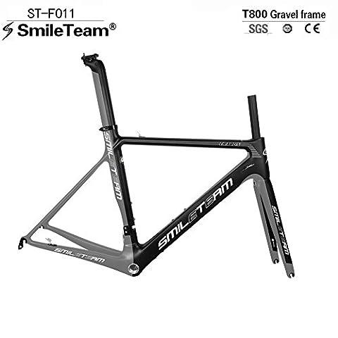 Smileteam Full Carbon Fiber Road Frame 700c Bike Carbon Frameset With Fork+Headset+Seatpost+Clamp (54cm)