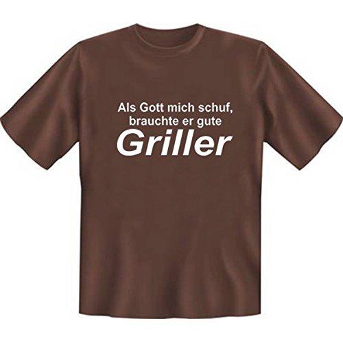 DAS Shirt für BBQ-Fans und Grillprofis: Als Gott mich schuf, brauchte er gute Griller T-Shirt, Farbe schoco, Braun