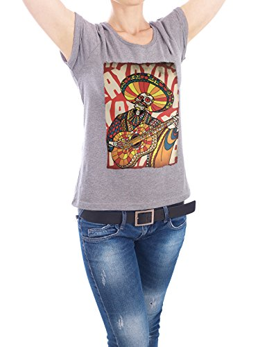 "Design T-Shirt Frauen Earth Positive ""Mariachi"" - stylisches Shirt Comic Musik von Ali GÜLEÇ Grau"