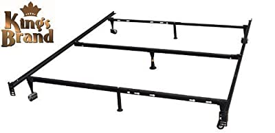 King's Brand 7-Leg Heavy Duty Adjustable Metal Bed Frame with Center Support Rug Rollers and Locking Wheels, Queen/Full/Full XL/Twin/Twin XL by King's Brand - cheap UK light store.