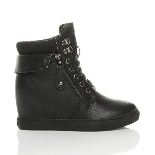 Femmes caché talon compensé lacets bottine bottes de cheville pointure Noir mat