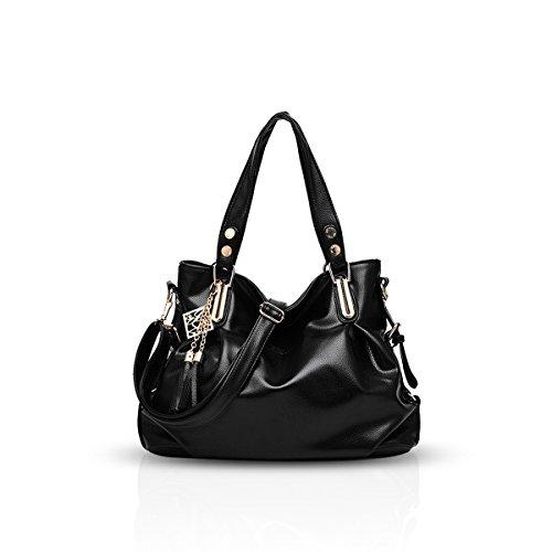 Nicole&Doris nuove signore di sacchetto delle donne borsa tracolla portatile casuale classico del messaggero di modo flessibile(Black) nero