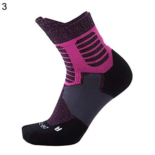 6SlonHySports Socken M?nner Frauen Outdoor-Sportarten Laufen Basketball Handtuch Unten Verdickt Radfahren Weiche Atmungsaktive Anti-Rutsch-Gummisocken - Rose Red -