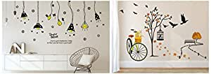 Amazon Brand - Solimo Wall Sticker for Living Room(Ride Through Nature, Ideal Size on Wall: 140 cm and Wall Sticker for Living Room (Light on!, Ideal Size on Wall: 175 cm x 85 cm) Combo