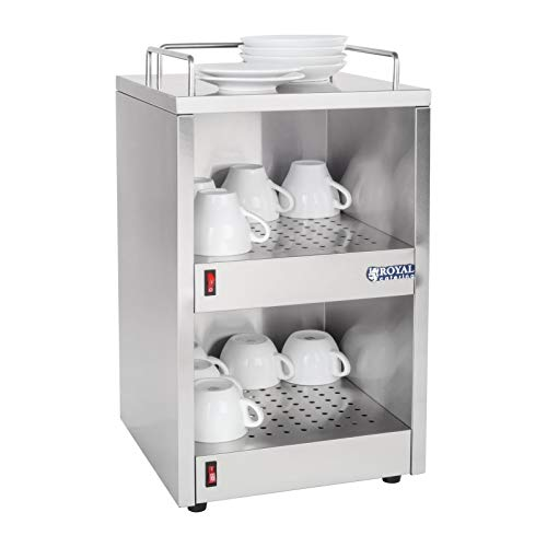 Tassenwärmer (Royal Catering Gastro Tassenwärmer RCCW-100 (2 x 70 W, Maximaltemperatur: 55 °C, 3 Ablageflächen, bis zu 72 Tassen))