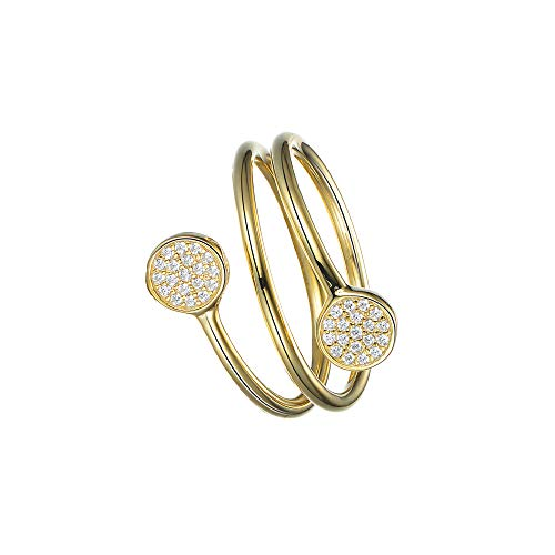 DOOSTI Damen Silberring mit Zirkonia 925/- Silber Gelbgold vergoldet SI-R-70-YG-S