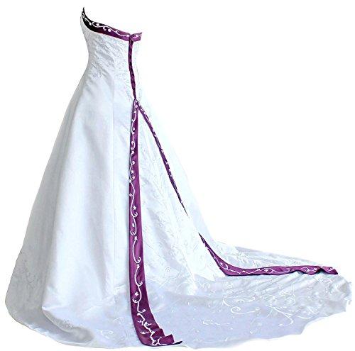 Faironly H9 Frauen trägerloses Stickerei Hochzeitskleider (XXXL, Weiß Lila)