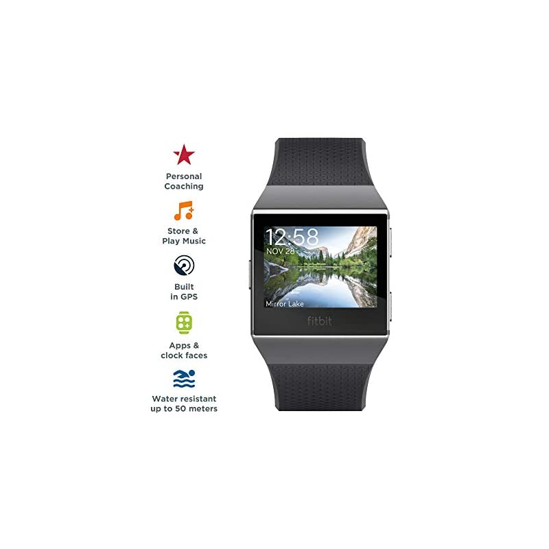 Fitbit Ionic Health & Fitness Smartwatch (GPS) with Heart Rate, Swim Tracking & Music – Black (Charcoal)/Smoke Grey
