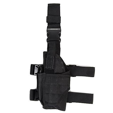 Taktisches Universalpistole-Handgewehr-Tropfen-Bein-Holster w / Mag-Beutel-linkshändiges Schwarz