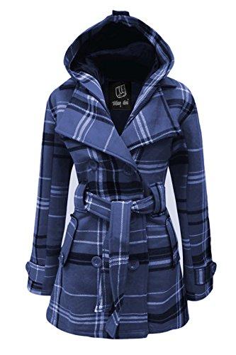 Cexi Couture Damen Kariert Vlies Warm Mantel Mit Gürtel Abnehmbarer Kapuze Jacke Jeansblau