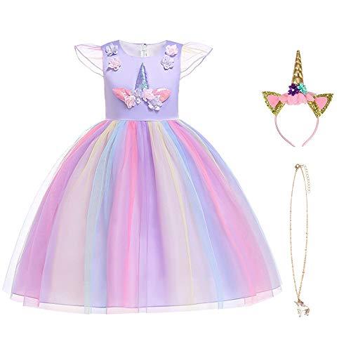 URAQT Eiskönigin Prinzessin Kostüm Kinder Glanz Kleid Mädchen Weihnachten Verkleidung Karneval Party Halloween Fest, Morado130CM