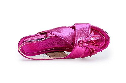 AgooLar Femme Velcro Non Talon Pu Cuir Couleur Unie Sandales à Plat Cramoisi