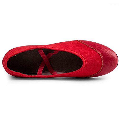 Azbro Women's Slip-on Soft Sole Low Heels Dance Shoes Red