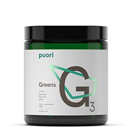 Puori G3 Nahrungsergänzung - Getrocknetes Gemüse [Grünkohl, Spinat, Petersilie] für Getränke und Rezepte [Grüner Smoothie Pulver Bio] Dried Vegetables