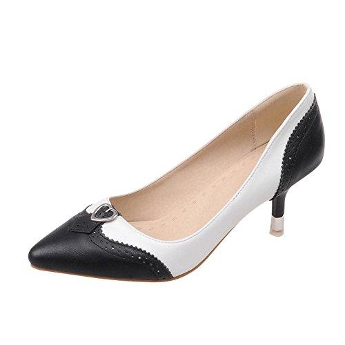 Mee Shoes Damen modern reizvoll populär Kitten-Heel spitz Geschlossen mehrfarbig Metall-Dekoration Pumps (40, Schwarz)