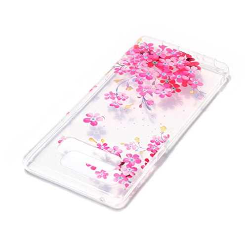Hülle für Samsung Galaxy Note 8, Case Cover für Samsung Galaxy Note 8 [Scratch-Resistant] , ISAKEN Ultra Slim Perfect Fit Malerei Muster Weiche TPU Silikon Durchsichtig Transparent Protective Rückseit Blumen Pink