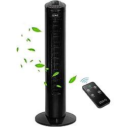 OZAVO Ventilateur Colonne Silencieux | Ventilateur Tour avec Télécommande | Ventilateur sur Pied Oscillant 70°| 45 W