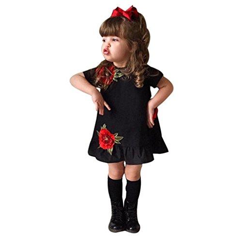 Perlen Knielangen Rock (Kleinkind Mädchen Rose Blumen Kleid Festzug Prinzessin Party Kleider (110, Schwarz))