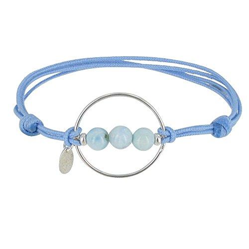 Schmuck Les Poulettes - Armband 3 Larimar Perlen Silber Kreis und Link - Classics - Blauer Himmel