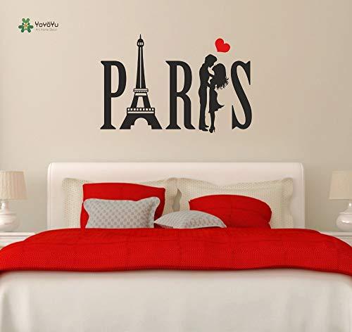 Wandtattoo Jugendliche Vinyl Wandaufkleber Paris Paar Eiffelturm Liebe Herz Raumdekoration 57X90cm -