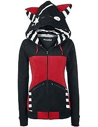 Bye Bye Kitty Star Kitty Chaqueta con capucha Mujer negro/rojo XL