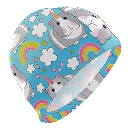 Gebrb Badekappe/Schwimmkappe/Bademütze, Guinea Pig Unicorns Rainbows Lycra Swim Cap Swimming for Women Men Lycra Swim Cap